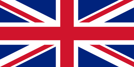 United Kingdom flag Union Jack with perfect proportions and exact colours. Vector illustration. Vettoriali