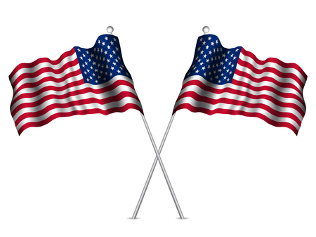 united states flags: United States flags waving. Vector illustration.