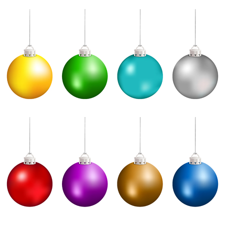 Christmas balls in different colors hanging. Vector illustration. Vettoriali