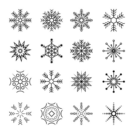 Sneeuwvlokken icon set. Vector