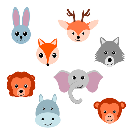 Cute baby forest and jungle animals. Vector illustration.