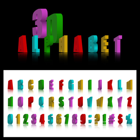 3d letters, numbers and marks with reflection. Vector