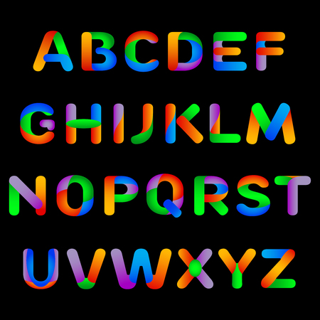 Rainbow alphabet. Vector illustration