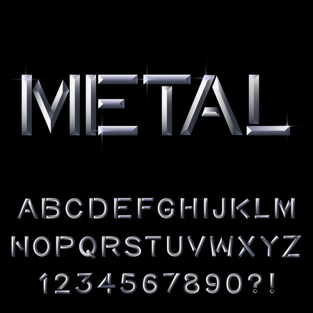 Metal bar alphabet. Vector eps10.