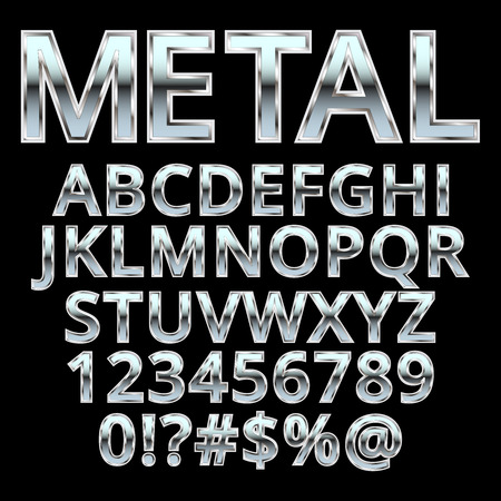 black and silver: Metal style letters. Vector . Illustration