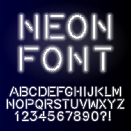 Neon glow alphabet, custom handcrafted font.