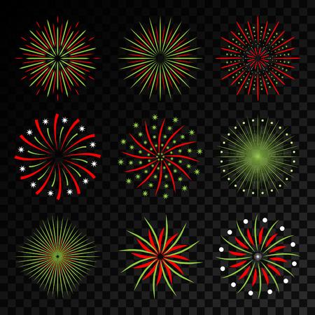 Fireworks set holiday celebration icons.