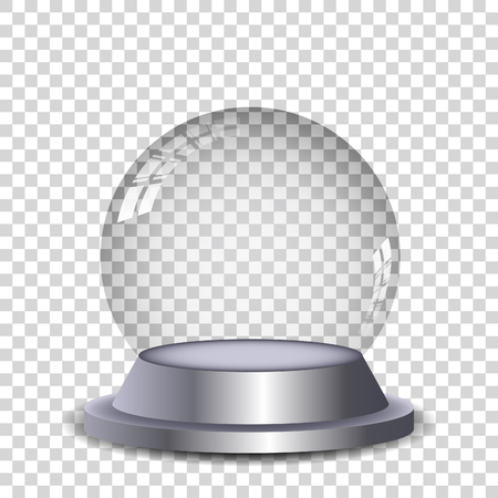 christmas snow globe: Crystal ball with reflection isolated and transperent. Vector eps10.
