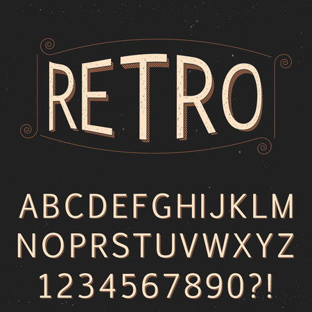 Retro vintage old scratched font for design. Vector eps10.