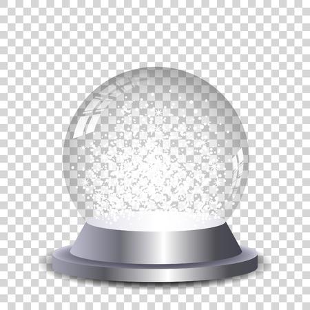 Bola de nieve de cristal transparente y aislado. Vector eps10.