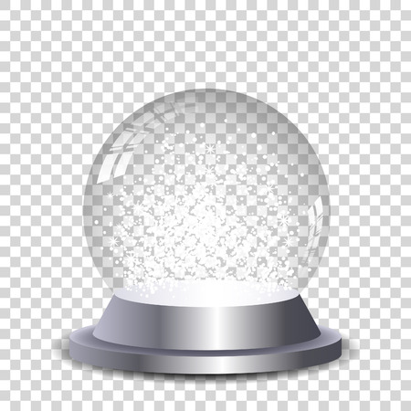 christmas snow globe: Crystal snowball transparent and isolated. Vector eps10. Illustration