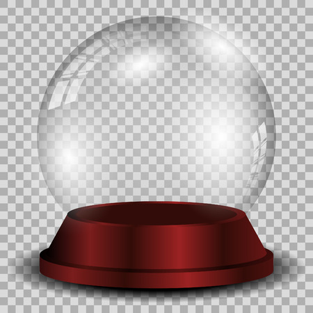 Crystal ball with reflection isolated and transparent for design.