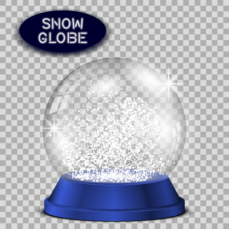 augur: Crystal snow globe transparent and isolated for design. Vector .