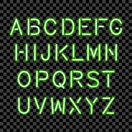 Glowing bulb alphabet isolated. Vector eps10