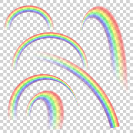 Realistic transparent rainbow set in different shapes. Vector Illustration