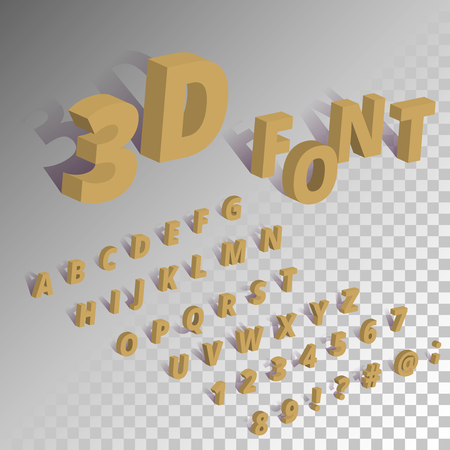 Isometric font alphabet set. 3d characters and symbols with shadow on transparent background.
