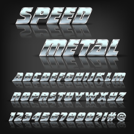 metal letters: Metal alphabet and symbols with reflection and shadow. Font for design.