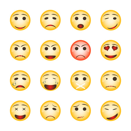 Beautiful smiley set. Collection of emoji icons isolated on white background. Vektorové ilustrace