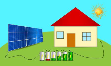 Solar powered house. Clean energy scheme Stock Illustratie