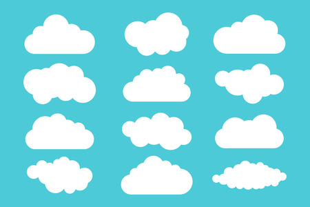 Simple cloud collection. Set of different clouds. Icons  cloud set. Design template.