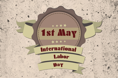 First may celebration ribbons on grunge background.