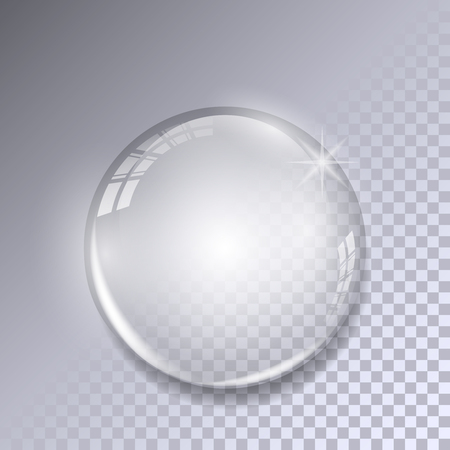 Crystal ball with reflections on transparent background. Realistic glass sphere. Stock Illustratie