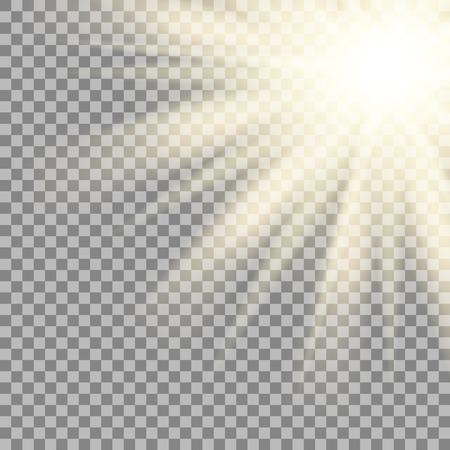Sun rays on transparent background.