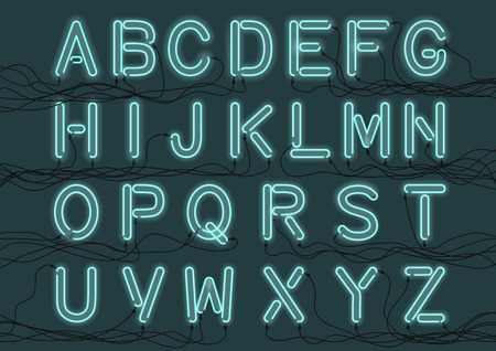 Cyan neon light bulbs custom font with electricity wires connected. Handcrafted alphabet for design.