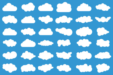 Cloud icons on blue background. 36 different clouds. Cloudscape. Isolated clouds. Stock Illustratie