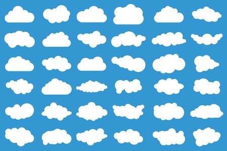 Wolkenpictogrammen op blauwe achtergrond. 36 verschillende wolken. Cloudscape. Geïsoleerde wolken.