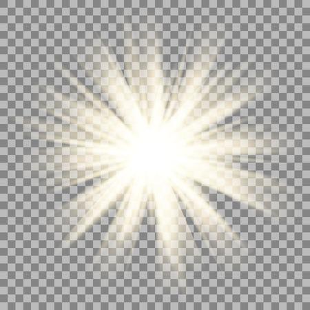 Sun rays on transparent background. Star flare effect. Shinny sparkle. Ilustração