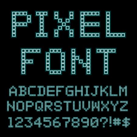 Retro computer font. Old PC alphabet.