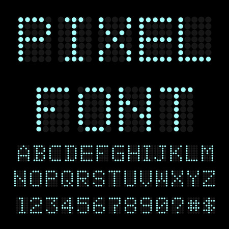 Retro computer font. Circle pixel alphabet.