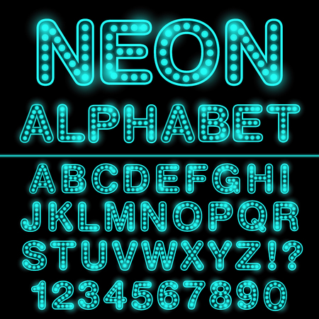 Neon light alphabet in cyan color. Glowing font for design. Neon sign.