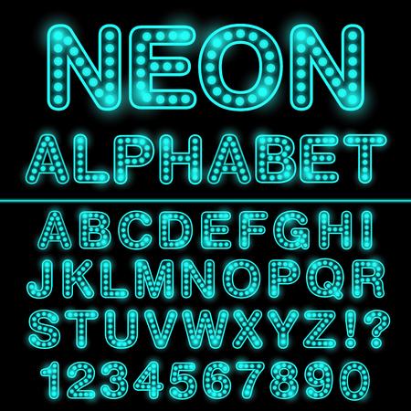 Neonlicht alfabet in cyaan kleur. Gloeiend lettertype voor ontwerp. Neon bord. Stock Illustratie