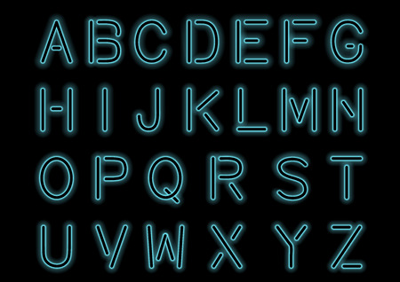 Glowing Cyan Blue Neon Alphabet isolated and transparent. Custom font for design. Shiny letters and symbols. Stock Illustratie