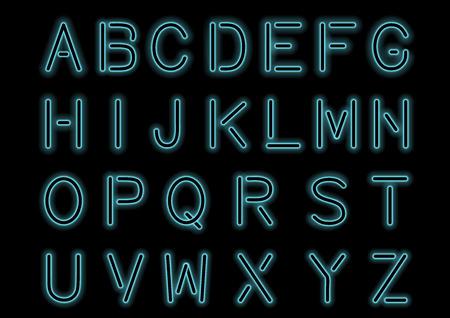 Gloeiend cyaan blauw neonalfabet geïsoleerd en transparant. Aangepaste lettertype voor ontwerp. Glanzende letters en symbolen. Stockfoto - 59895610