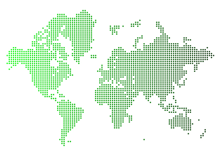 Abstract green world map made of dots. Stock Illustratie