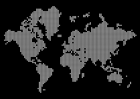 Abstract world map made of dots. White dot world on black background.