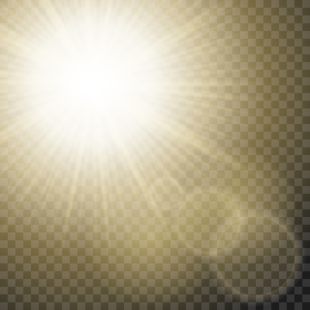 Sun rays with hotspots and flares on transparent background. Star flare effect.