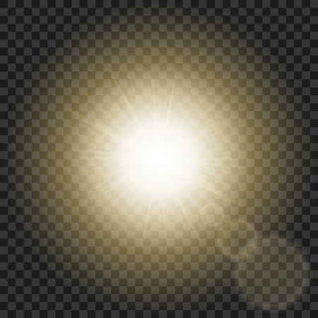Sun rays with hot spot and flares on transparent background. Star flare effect. Burning star. Stock Illustratie