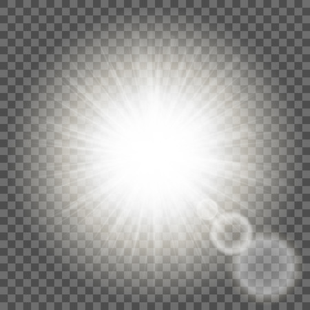 Glowing light on transparent background. Sparkling light texture template. Stock Illustratie