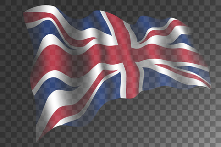 United Kingdom flag with shades waving isolated on transparent background. Great Britain national symbol. Vector illustration.