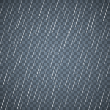 Transparent rain drops isolated on dark blue background. Dense rain with scattered water drops. Vector. Stock Illustratie
