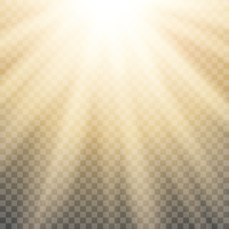 Sun rays on transparent background. Burning sun isolated.