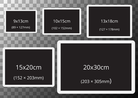 frames with standard photo sizes on transparent A2 sized background.