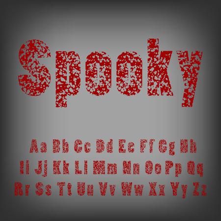 Bullet holes in letters. Spooky horror typeface font.
