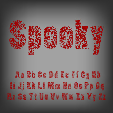 Bullet holes in letters. Spooky horror typeface font.
