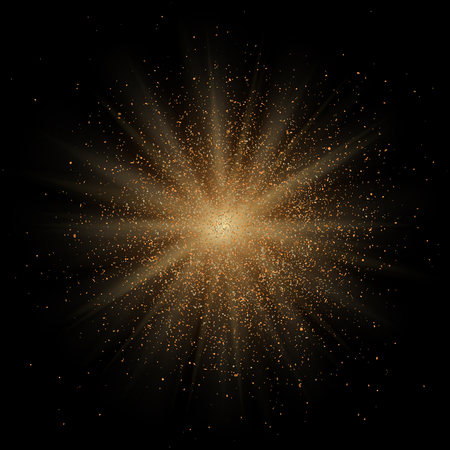 Golden star glitter particle explosion. Space body implosion effect. Star dust on black background.