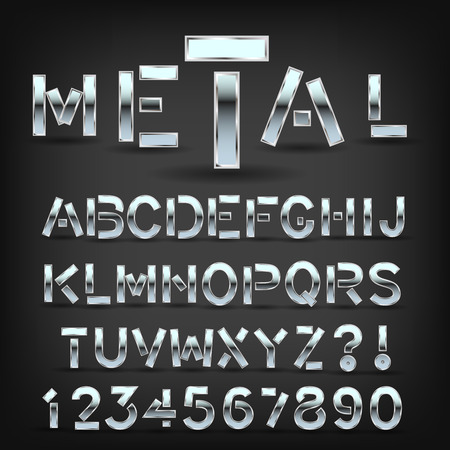 Metal font with shadow on black background